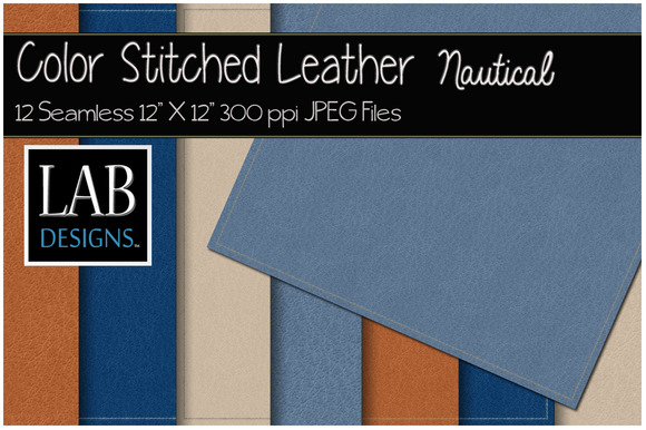 12 Stitched Leather Textures Blues