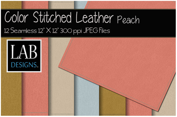 12 Stitched Leather Textures Peach