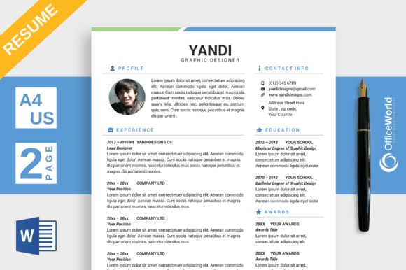 Template - Simple Colored Resume CV MS Word » Logotire.com