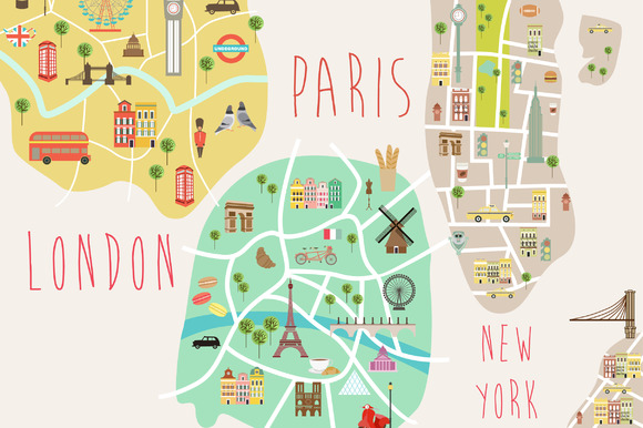 New York London And Paris City Map