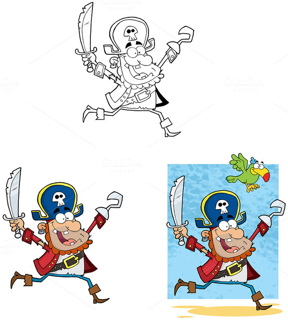 Pirate Running With Sword And Hook