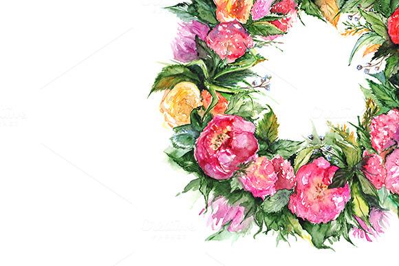 Watercolor Flower Floral Wreath