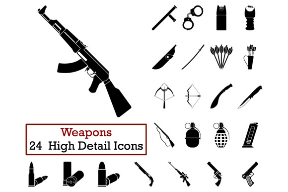 Set Of 24 Weapon Icons