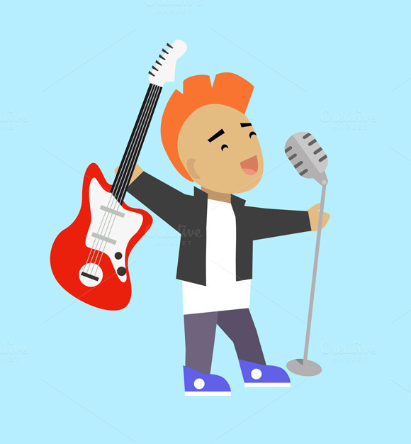 Singer Guitarist With Microphone