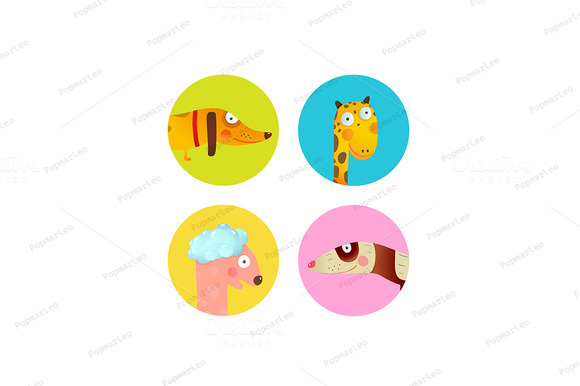 Fun Cartoon Baby Animals Icons Set