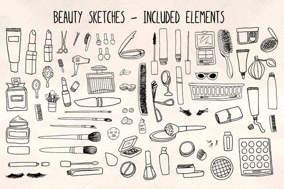 70 Cosmetics Make Up Beauty Graphic