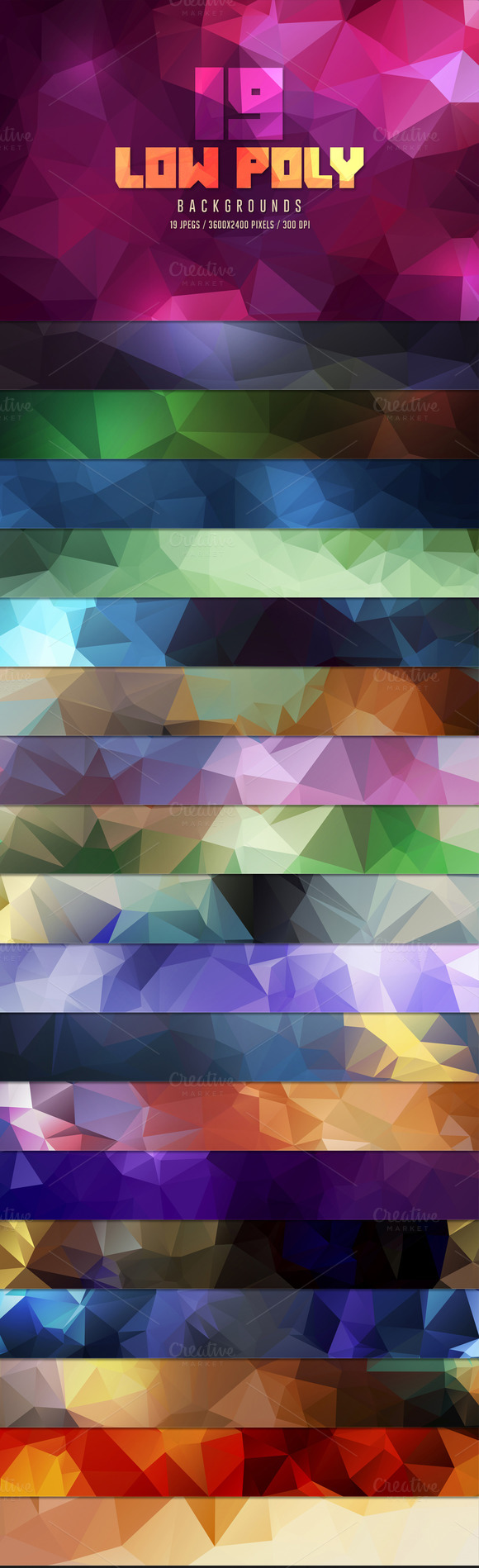 19 Low Poly Backgrounds