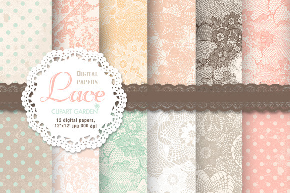 12 Lace Patterned Papers Editables