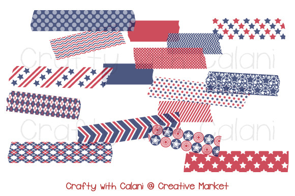 Independence Day Washi Tape Clipart