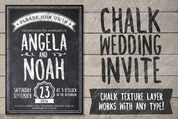 Chalk Wedding Invite Pack