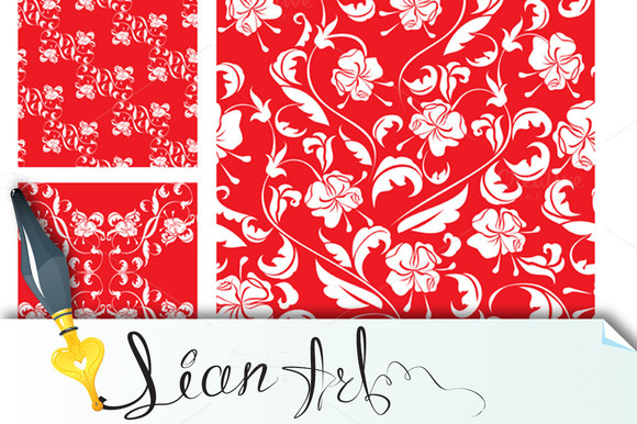 8 Seamless Patterns With White Roses