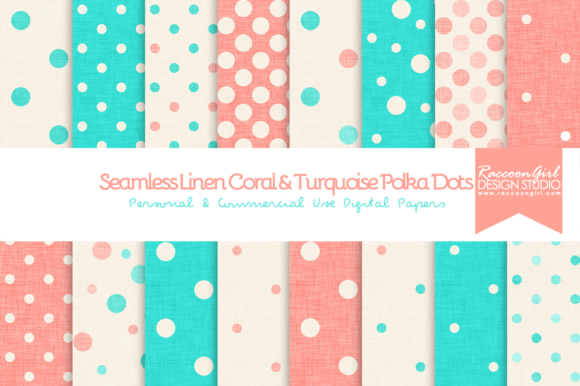 Linen Coral Turquoise Polka Dots
