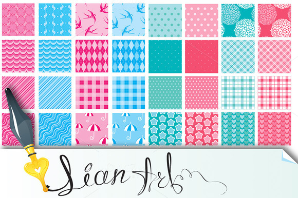32 Fabric Textures In Pink And Blue