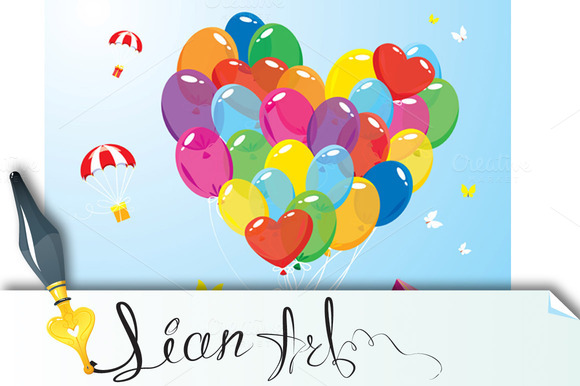 Image With Color Balloons In Heart