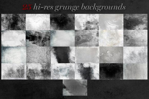 25 Hi-res Grunge Textures In B W