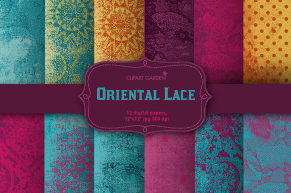 12 Lace Patterned Papers