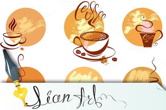 Set Of Coffee Cups Icons Stylized S