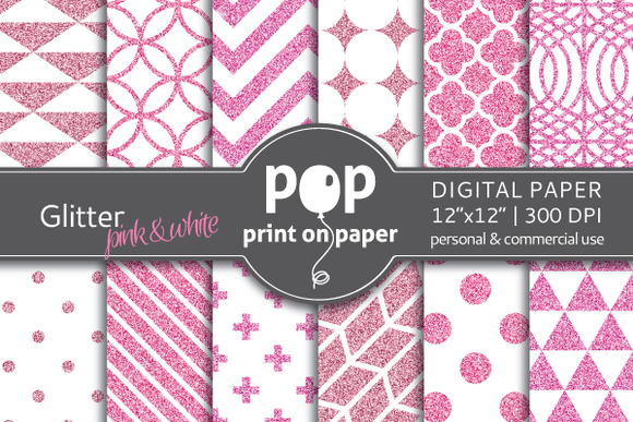 Glitter Pink White Digital Paper