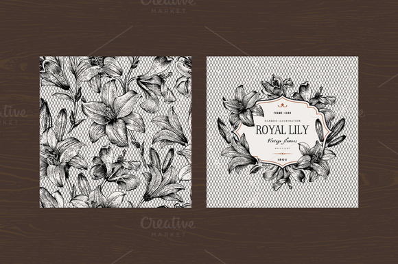 Vector Vintage Set With B W Lilies