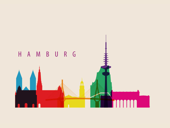 Hamburg City Landmarks Illustration
