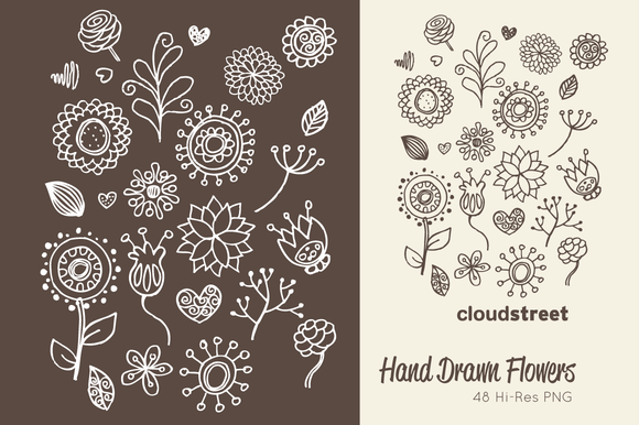 Hand Drawn Flowers Clipart