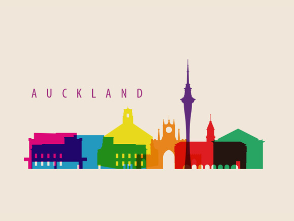 Auckland City Landmarks Illustration