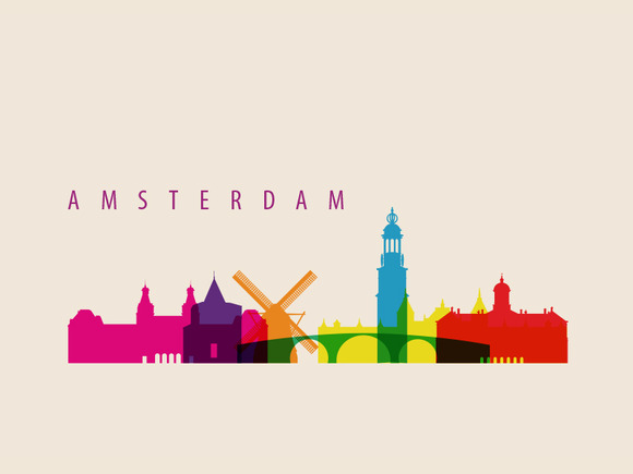 AmsterdamCity Landmarks Illustration