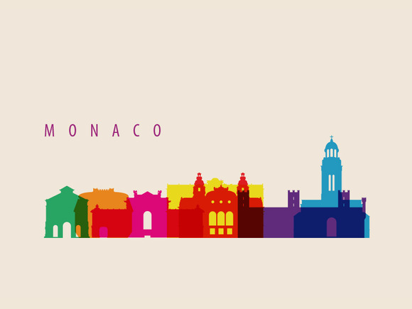 Monaco Landmarks Illustration