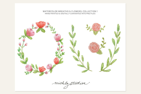 4 PNG Watercolor Wreaths Flowers