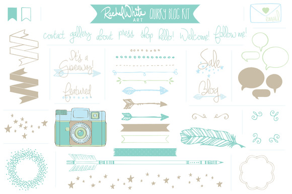 Vector Quirky Blog Kit