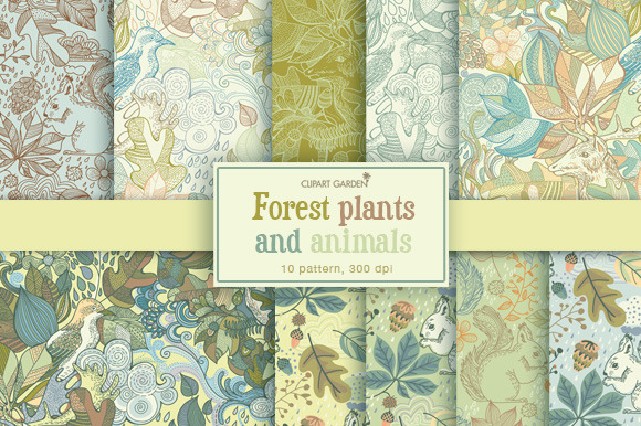 Forest Plants And Animals Patterns