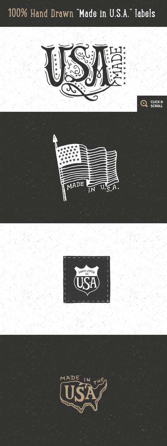 12 Hand Drawn Made In USA Labels
