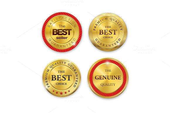 Set Of Blank Round Gold Metal Badges