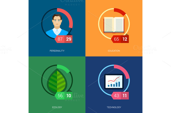 Flat Icon Infographic Template Set