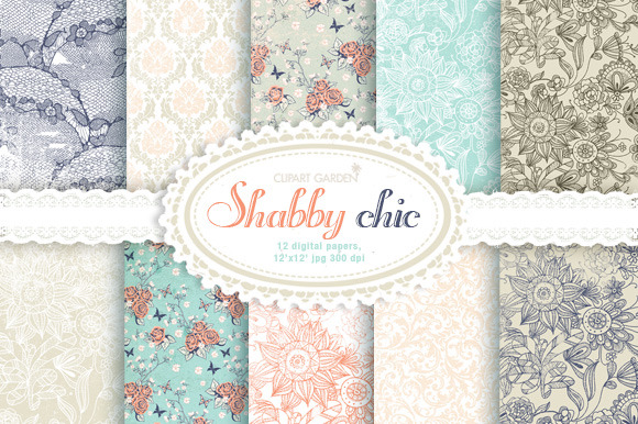 12 Shabby Romantic Digital Papers
