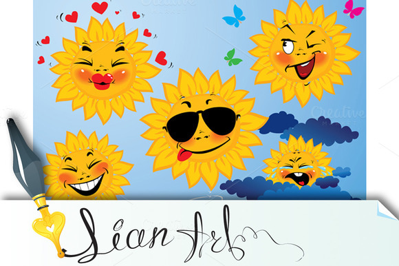 Set Of Cute Cartoons Of Sun