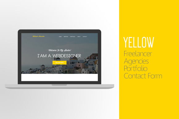 Yellow One-Page Website PSD