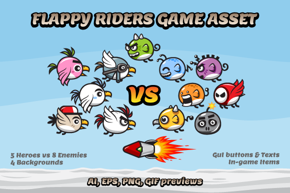 Game Asset Flappy Riders Sprites