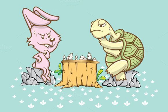 Rabbit And Turtle Are Playing A Ches