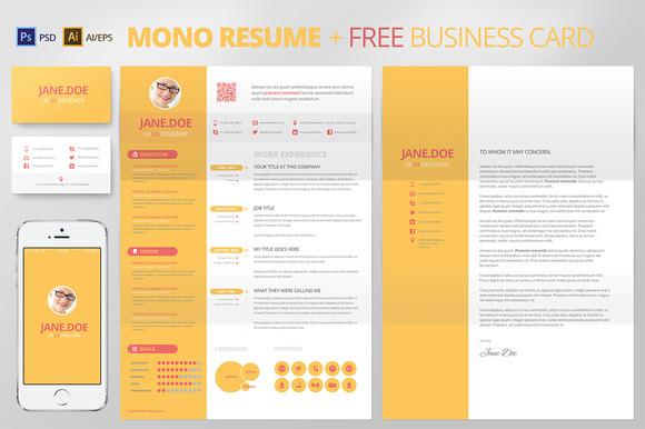 Mono Resume CV FREE Business Card