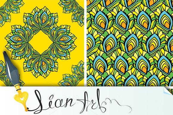 Set Of 4 Seamless Peacock Patterns