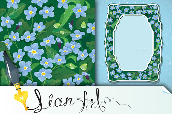 Forget Me Not Seamless And Card
