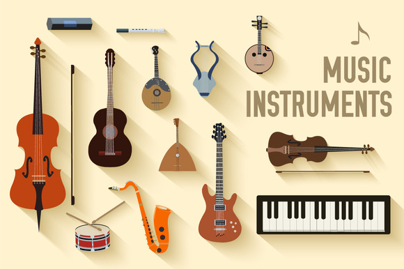 Set Of Flat Music Instruments Icon
