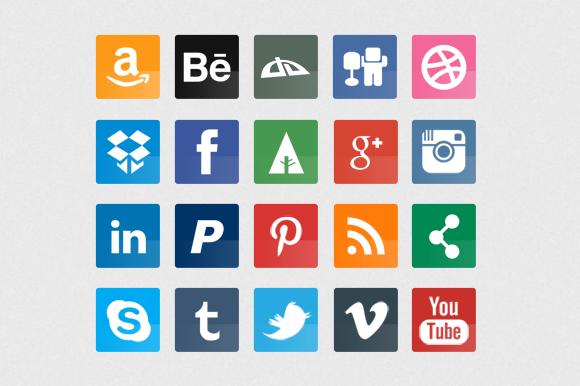 20 Glossy Flat Social Icons