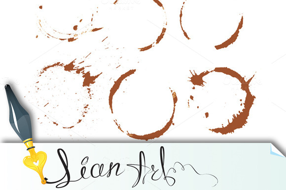 Set Of Coffee Stain Isolated