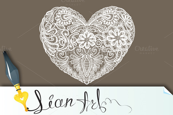 Heart Shape Is Made Of Lace