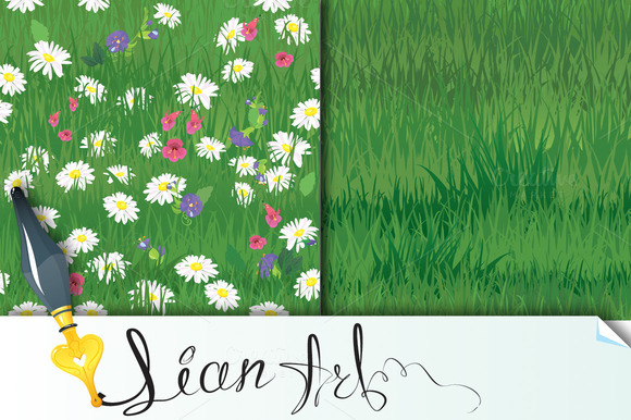 Seamless Of Grass And Wild Flowers