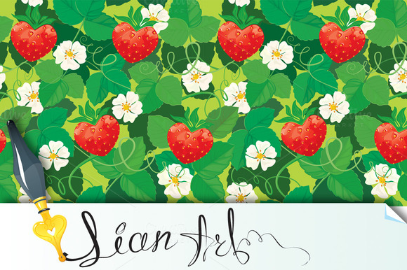 Strawberries In Heart Shapes Seaml