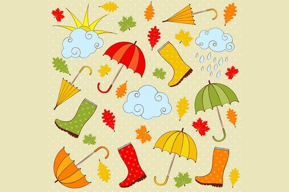 Rainy Autumn Clip Art