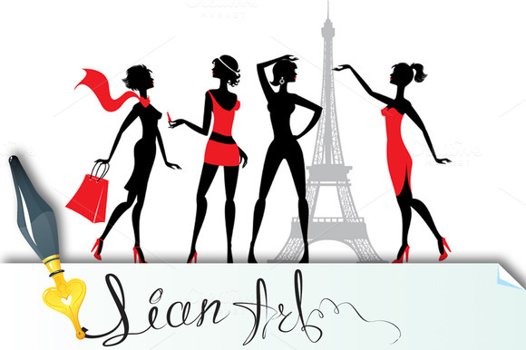 Set Of Silhouettes Of Fashion Girls